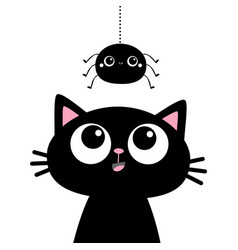 Black cat kitten face head silhouette looking up vector