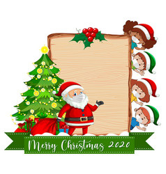 Blank wooden board with merry christmas 2020 font vector