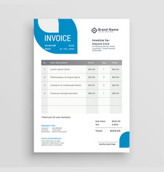 Blue business invoice template design vector