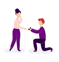 boyfriend making marriage proposal to girlfriend vector image