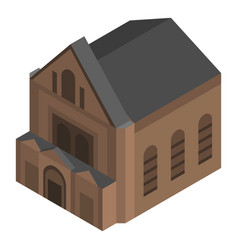 Brown church house icon isometric style vector