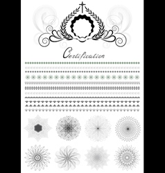 Brushes and patterns in original style vector image