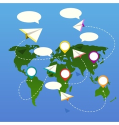 bubble depicting a world map with white plane vector image
