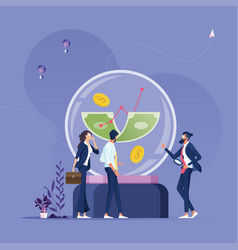 business people staring money into a crystal ball vector image