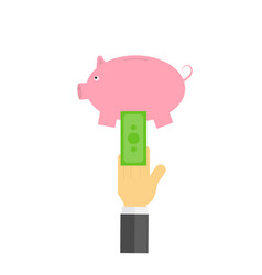 Businessman putting money in piggy bank vector