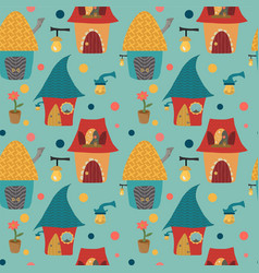 cartoon houses childlike pattern on blue backgroun vector image