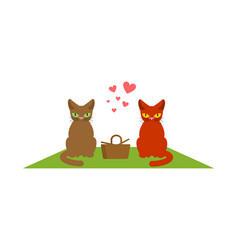 cat lovers on picnic meal in nature blanket and vector image