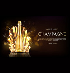 Champagne bottle with gold crystal grains banner vector
