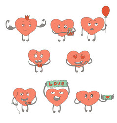 Characters pink hearts vector