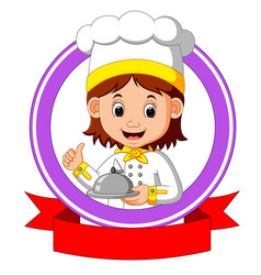 chef cook holding plate dish vector image