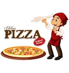 Chef making italian pizza vector