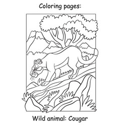 children coloring book page cougar vector image