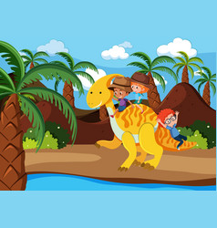 children riding a dinosaur vector image