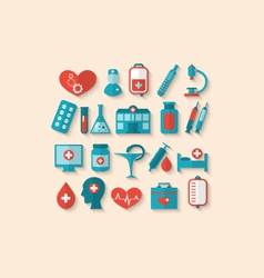 Collection trendy flat icons of medical elements vector