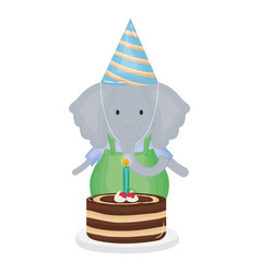 cute elephant with sweet cake in birthday party vector image