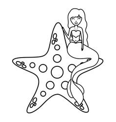 cute fairytale mermaid with starfish vector image