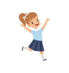 Cute happy schoolgirl in uniform running with vector