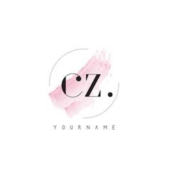 Cz watercolor letter logo design with circular vector