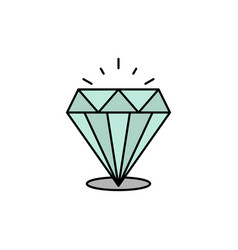 Diamond shine expensive stone flat color icon vector
