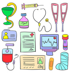 Doodle of medical object design collection vector