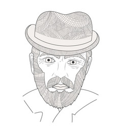 Face of an old man zen tangle grandfather vector