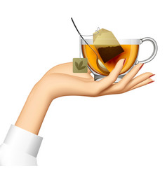 Female hand holding transparent glass cup vector