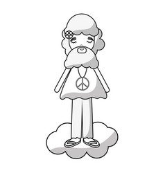 figure man in cloud peace and love vector image