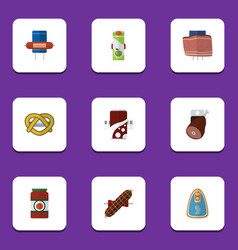 Flat icon food set of cookie kielbasa fizzy vector