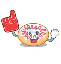 Foam finger jelly donut mascot cartoon vector
