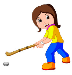 Funny girl cartoon playing hockey vector