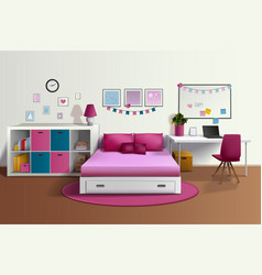 Girl Room Realistic Interior vector