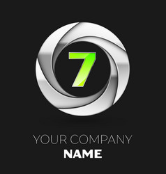 green number seven logo symbol in silver circle vector image