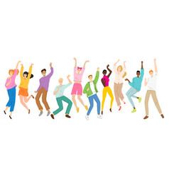 group young happy dancing people dancing vector image