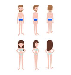 guy in swimming trunks and girl in swimsuit set vector image