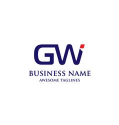 Gw letter logo design vector