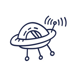 hand drawn ufo doodle icon hand drawn black vector image