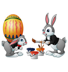 happy easter bunny painting easter egg vector image