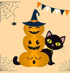 happy halloween three pumpkins on each other in vector image