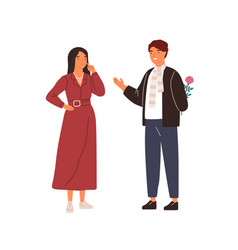 happy man making surprise to woman hiding flower vector image