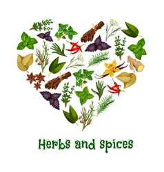 Herbs and spices heart poster vector