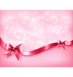 Holiday pink background with gift glossy bows and vector image