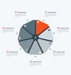 infographic temlate with heptagon 7 options vector image