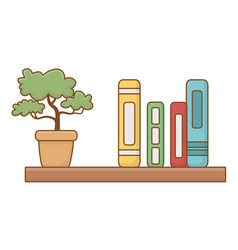 Isolated shelf with books design vector