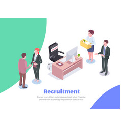 isometric recruitment people background vector image