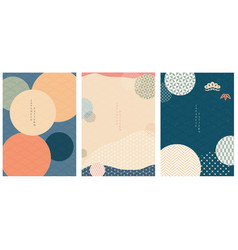 japanese template with japanese patterns and vector image