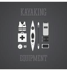 Kayaking equipment icons set kayak on a grayscale vector