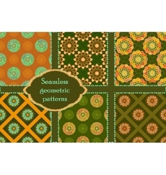 Khaki and orange circle pattern ornament vector image
