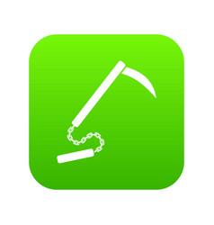 Kusarigama icon digital green vector
