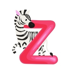 Letter Z with zebra animal for kids abc education vector