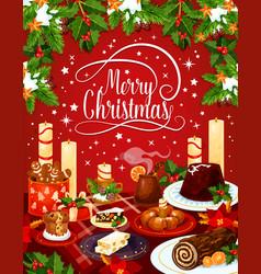 Merry christmas eve dinner greeting card vector